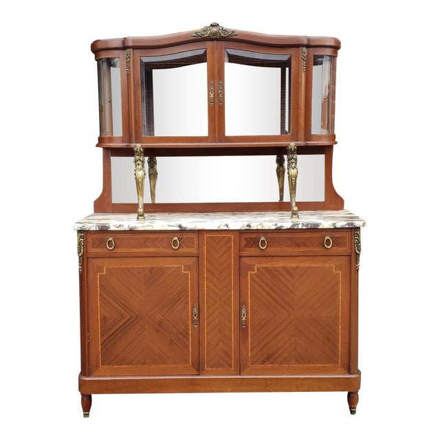 1950s French Louis XVI Style Walnut & Marble Top Dinning Room Hallway Cabinet For Sale