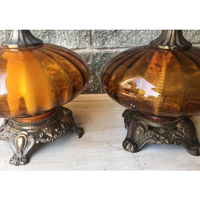 Hollywood Regency Vintage Amber Glass Lamps - Pair - Image 4 of 8