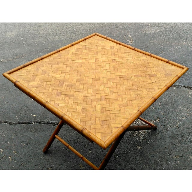 Brown Folding Bamboo Table & Chinoiserie Chairs - Set of 3 For Sale - Image 8 of 11