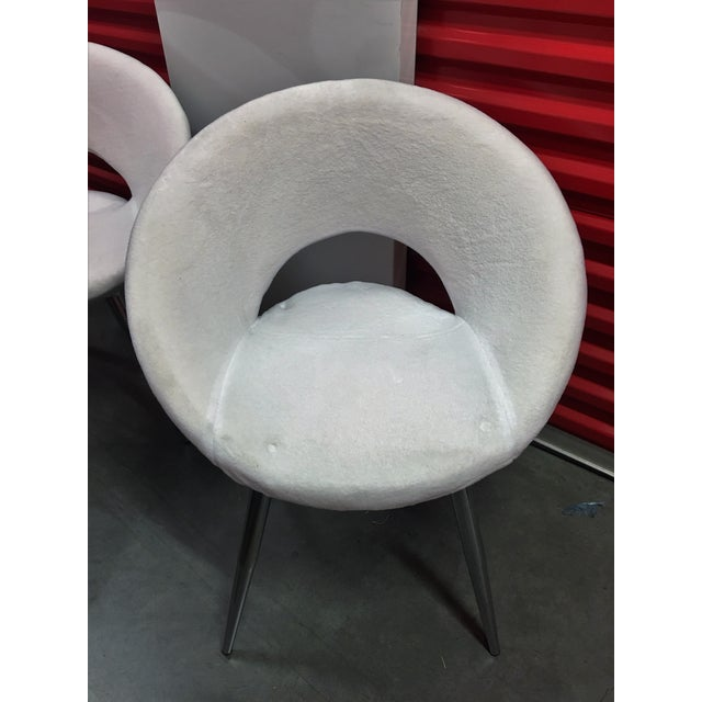 Oval White Velvet Modern Chairs- Set of 4 - Image 3 of 5