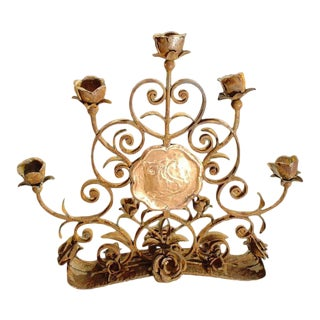 Antique French Forged Iron 'Roses' Candelabra For Sale