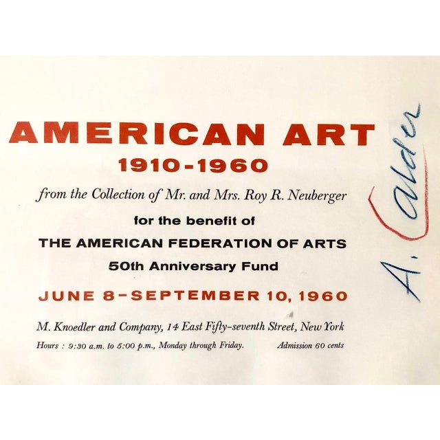 Alexander Calder Alexander Calder Signed Knoedler Exhibition of American Art 1910-1960 Poster For Sale - Image 4 of 5