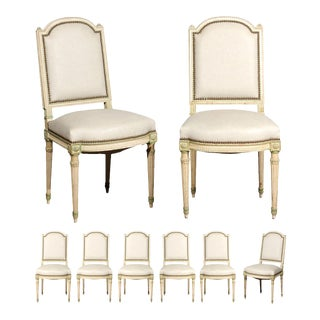 Set of Eight French Louis XVI Style Painted Dining Chairs with New Upholstery For Sale