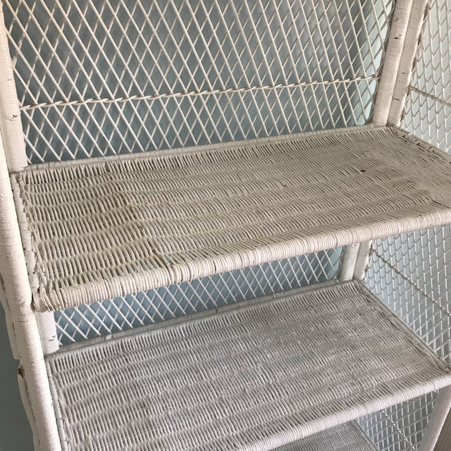 1970s Shabby Chic Victorian White Wicker 5-Shelf Wall Unit For Sale - Image 10 of 13