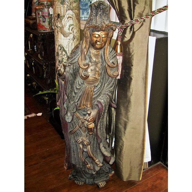 19c Asian Wooden Carved, Painted & Gilded Guanyin Statue For Sale - Image 12 of 12