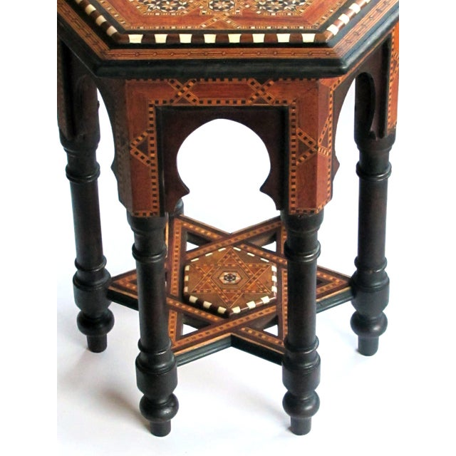 Islamic An Intricately Inlaid Syrian Hexagonal Table For Sale - Image 3 of 6