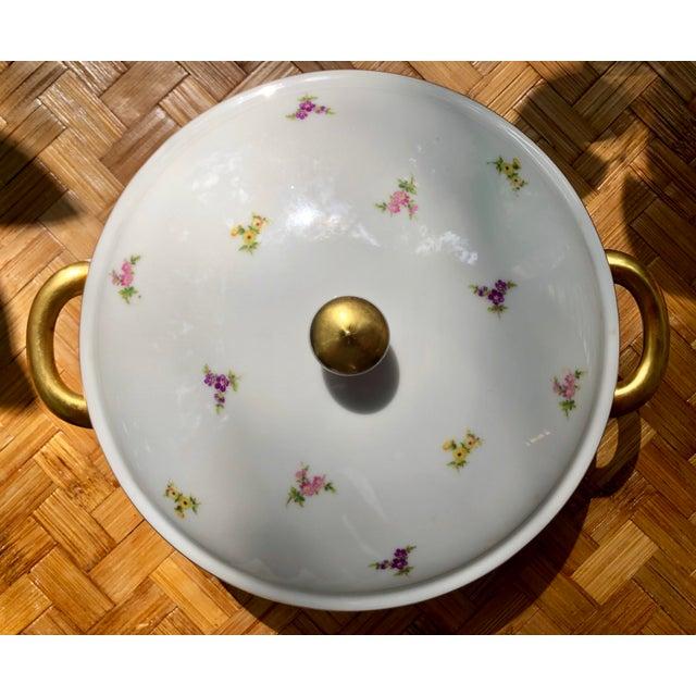 """Haviland """"Rose Chintz"""" Gilt Floral Porcelain Vegetable Tureen For Sale - Image 11 of 12"""