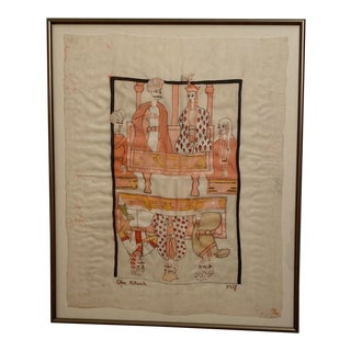 Vintage Indian Painting on Fabric For Sale