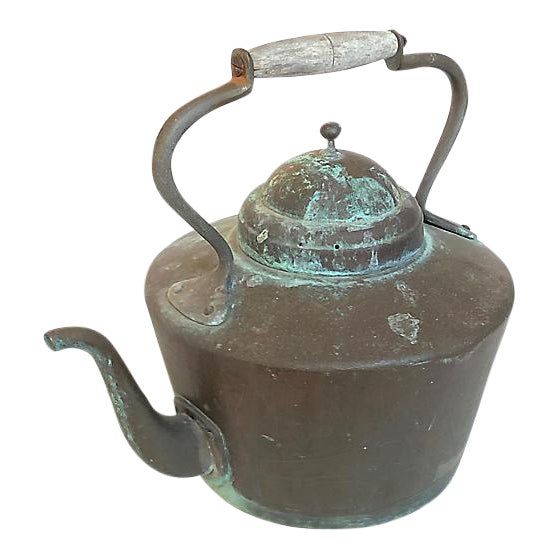 Patinated French Copper Kettle For Sale
