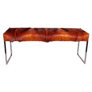 Organic Modern African Springbok Fur Bench in Burnt-Orange For Sale