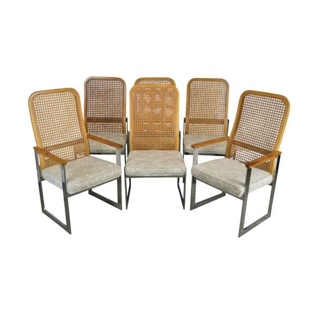 Milo Baughman for Lane Mid Century Modern Set 6 Cane Back Chrome Dining Chairs For Sale - Image 12 of 12