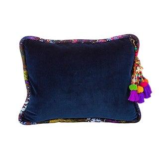 Navy / Vintage Gypsum Velvet Throw Pillow For Sale