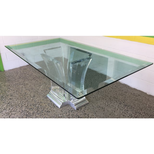 Jeffrey Bigelow Lucite and Nickel Dining Table 1980's - Image 7 of 7