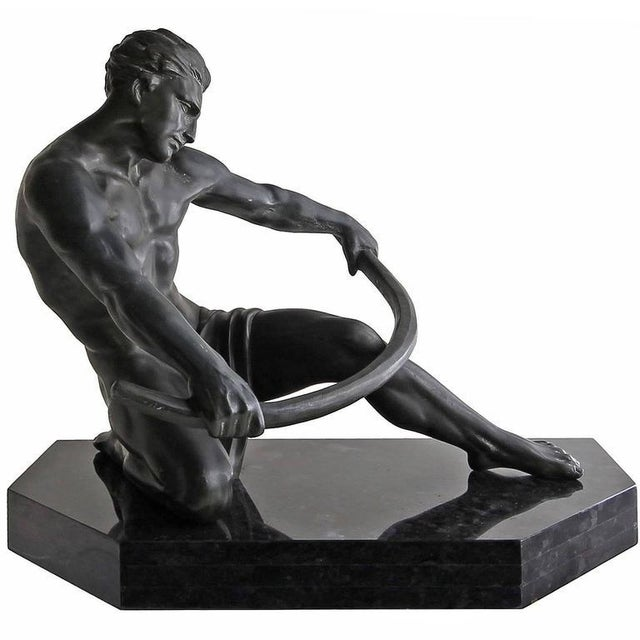 Metal Early 20th Century Vintage Art Deco Seminude Male Sculpture For Sale - Image 7 of 7