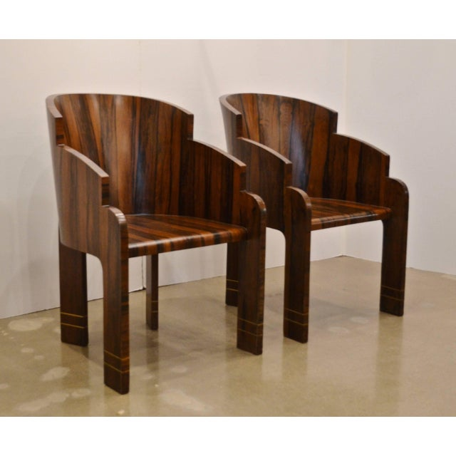 World-Class Pair of Art Deco Rosewood Barrel Back Tub Chairs, Circa ...