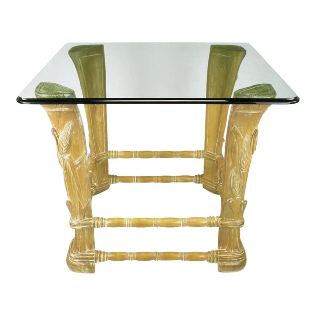 Limed Alder Center Table with Carved Wheat Relief and Glass Top - Image 1 of 10