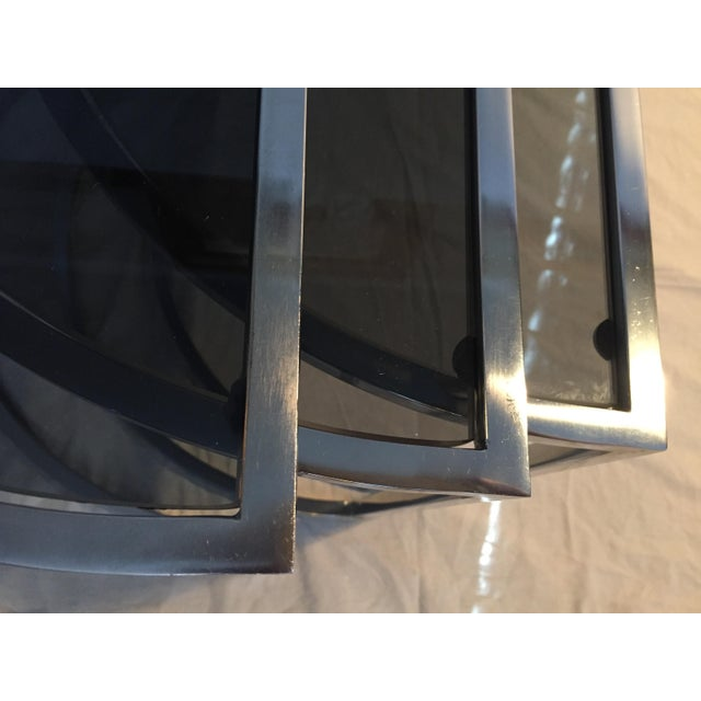Late 20th Century Italian Chrome & Smoke Glass Nesting Tables - Set of 3 For Sale - Image 9 of 12