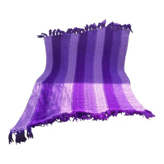 Vintage Hand-Knit Purple Afghan Throw For Sale