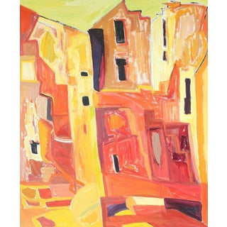 """New Mexico"" Abstracted Adobe Houses, Oil Painting, 1975 For Sale"