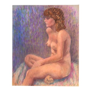 Vintage Original Female Nude Pastel Drawing For Sale