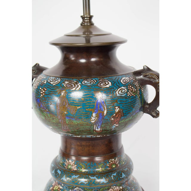 Restored Antique Champleve Table Lamp For Sale - Image 10 of 11