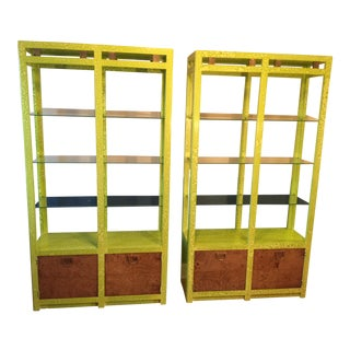 Lime Burled Wood & Brass Etageres - A Pair For Sale