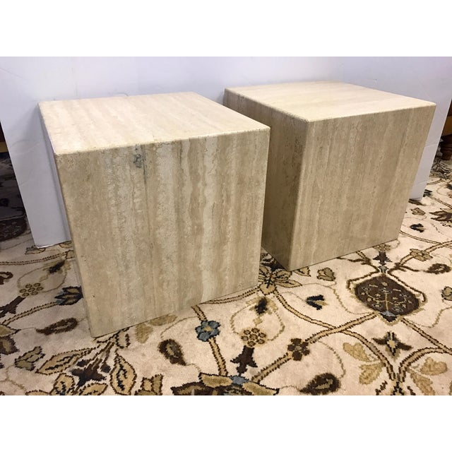 Stone Pair of Midcentury Travertine Cube End Table Stools Italy For Sale - Image 7 of 7