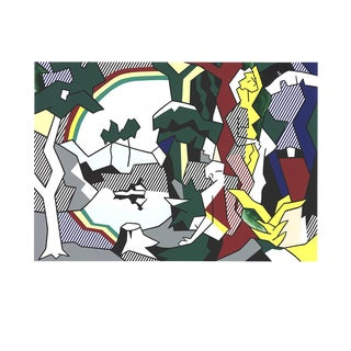 "Roy Lichtenstein Landscape With Figures 27.5"" X 35.5"" Serigraph 1989 Pop Art Multicolor, Green, Blue, Gray For Sale"