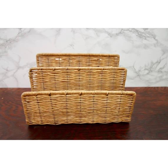 Vintage Wicker Paper Sorter Mail Organizer - Image 2 of 4