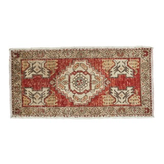"Vintage Distressed Oushak Rug Runner - 1'8"" X 3'3"""