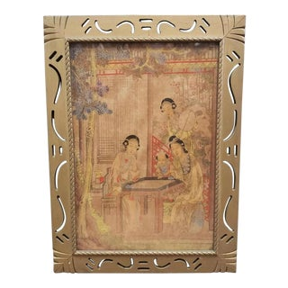 Early 19th Century Chinese Women Playing Weiqi Framed Silk Painting For Sale