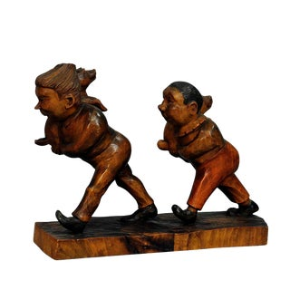 A Whimsy Antique Woodcarving Of Plisch And Plum By Wilhelm Busch For Sale
