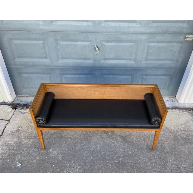 Danish Style Black Leather Bench For Sale - Image 12 of 13