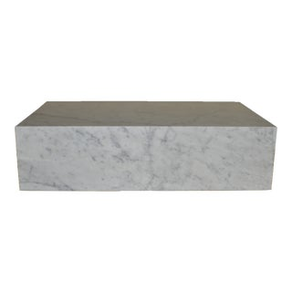 Minimalist Design Within Reach White Carrara Marble Low Plinth Table For Sale