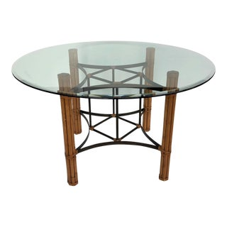 Vintage Boho Chic McGuire Round Dining Table For Sale
