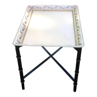 Vintage British Colonial Yellow Rectangular Hand Painted Tole Tray/Folding Iron Stand For Sale