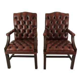 1940s Vintage Libraryish Chesterfield Sumptuous Tufted Leather Arm Chairs- A Pair For Sale