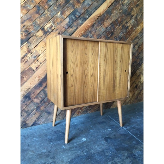Mid-Century-Style Teak Record Cabinet For Sale In Los Angeles - Image 6 of 8