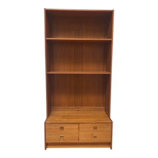 Danish Modern Teak Shelving Unit With Four Drawers For Sale