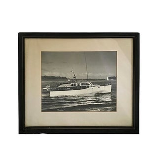 Framed Yacht Black and White Photograph For Sale