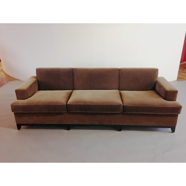 Modern Brown Mohair 3 Seater Sofa For Sale - Image 3 of 3