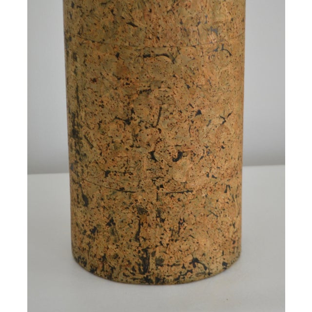 Mid-Century Cylindrical Form Cork Table Lamp For Sale - Image 9 of 11