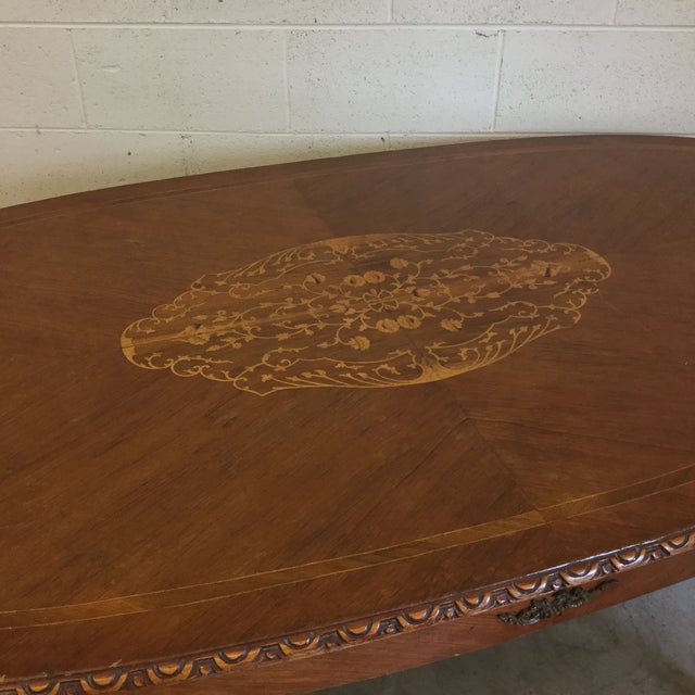 French Inlaid Ormolu Dining Table Desk For Sale - Image 9 of 13