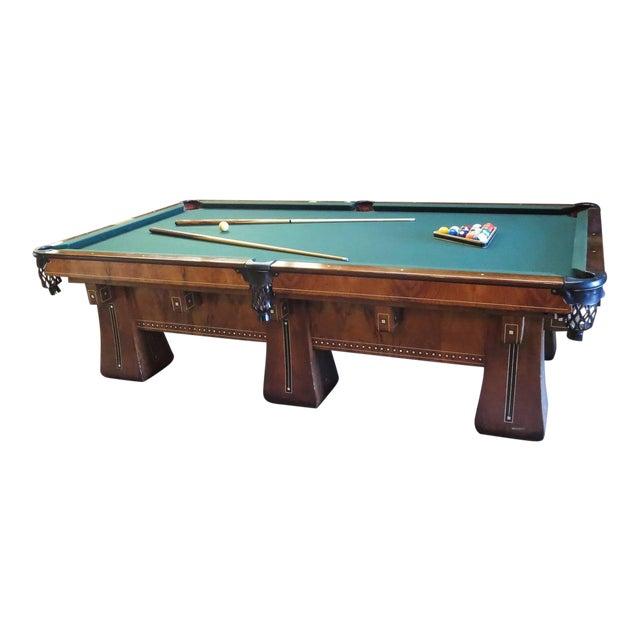 1915 Brunswick Arcade Pool Table With Rare Six-Legged Base For Sale - Image 9 of 9