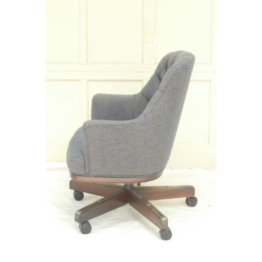 Traditional Chesterfield-Esque Tufted Wool Office Chair For Sale - Image 3 of 4