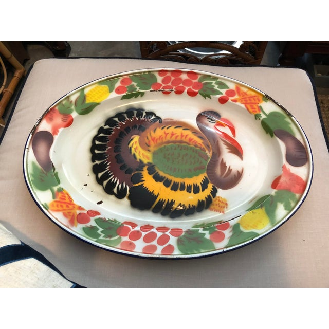 Enameled Midcentury Turkey Platters, Pair For Sale - Image 9 of 9