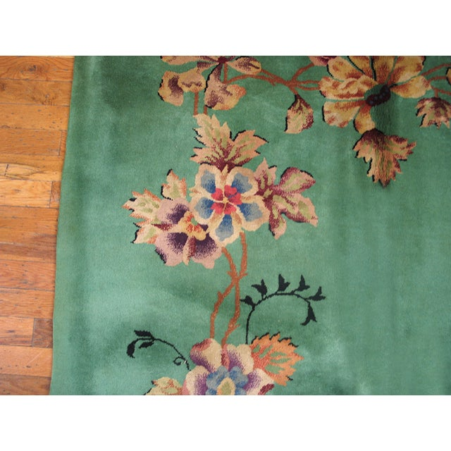 1930s Antique Art Deco Green Rug For Sale - Image 5 of 6