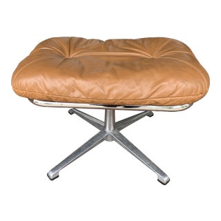 Vintage Leather and Chrome Ottoman For Sale