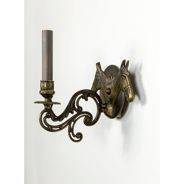 Brass Horse Candelabra Sconces in Oil Rubbed Bronze, Pair For Sale - Image 9 of 11