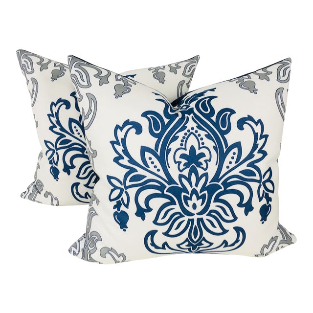 Medallion Motif Blue & White Pillows – a Pair For Sale